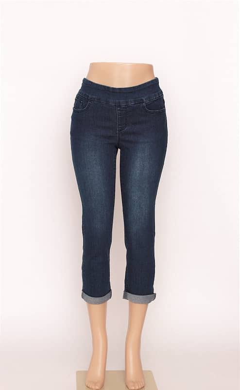 Denim Capri Med Blue Plain Pocket
