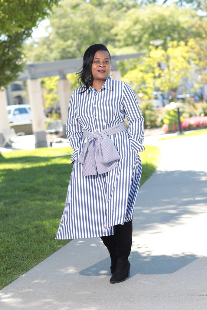 Navy Stripe Midi Dress