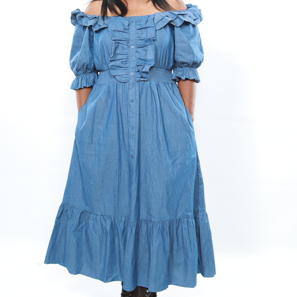 Denim Color Frill Off Shoulder Dress