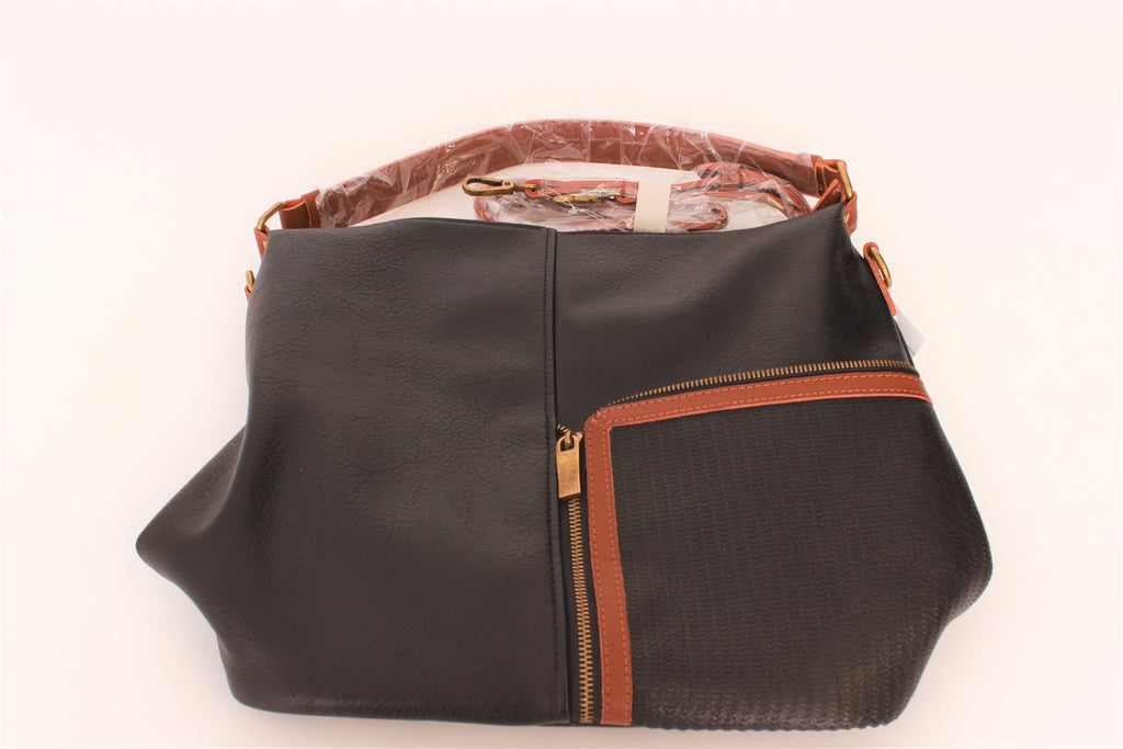 Black Purse with Brown Trim and Front Zipper