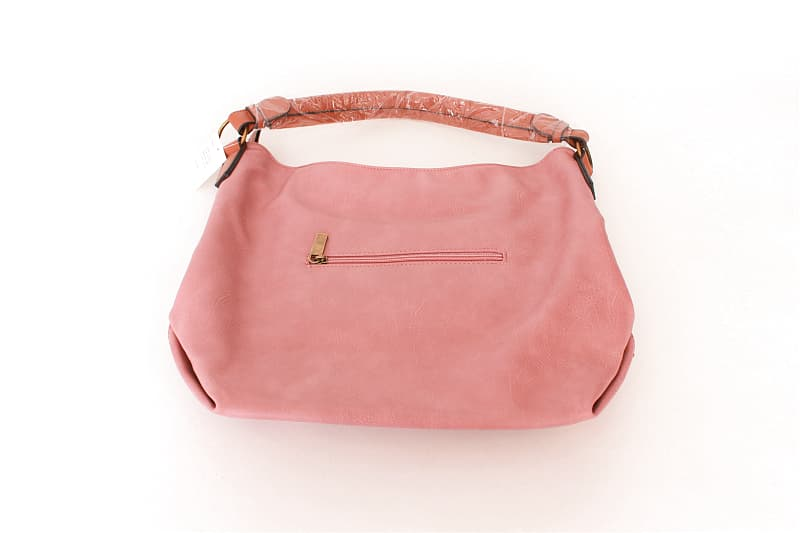 Blush Purse with Front Pocket with Brown Trim