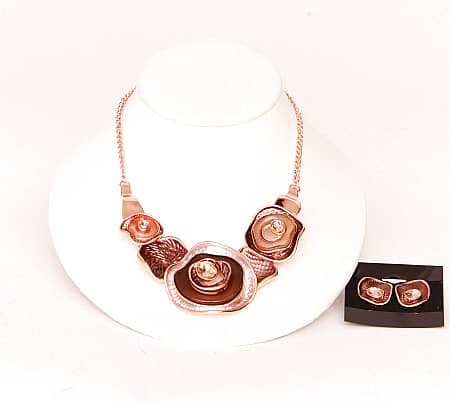 Rose Gold Brown/Champagne Necklace Set