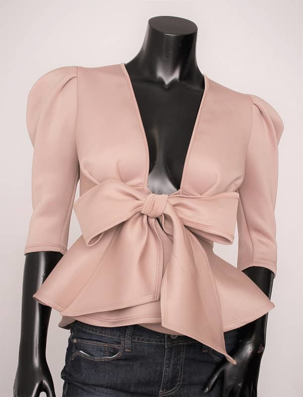 Solid Layered Sleeve Peplum Top with Tie Waist