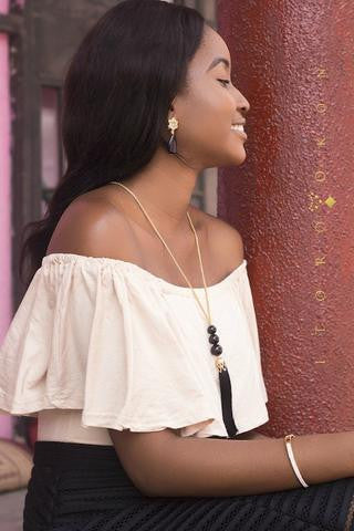 black tassel necklace by itoro okon