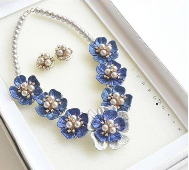 Blue and Grey floral necklace