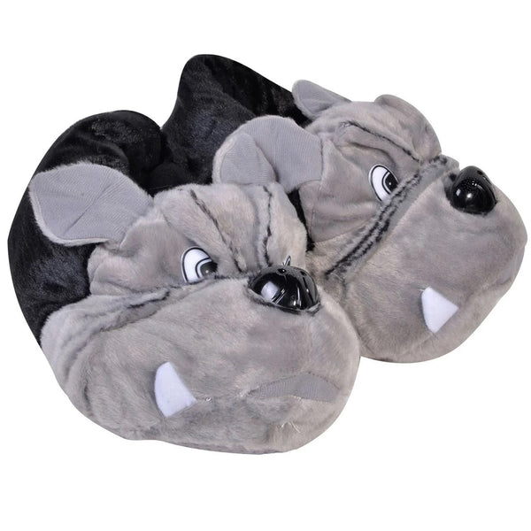 Papuci De Casa 3D Black Grey Dog - Mixu.ro
