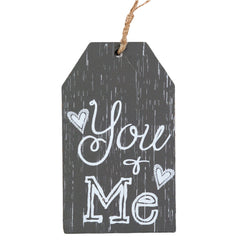 Placa decorativa din lemn You + Me, 11x6 cm