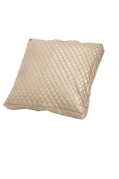 Beige Faux Leather Pillow