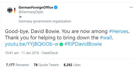 German foreign offices tweet about david bowie in berlin