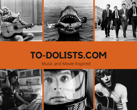 to-dolists.com logo with images of movies and singers