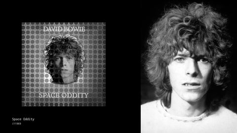 David Bowie next to the cover of the Space Oddity single