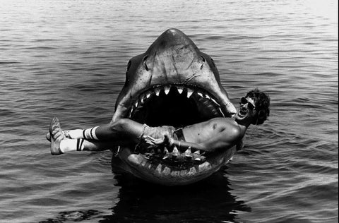 Steven Spielberg laying in the mouth of the shark in Jaws