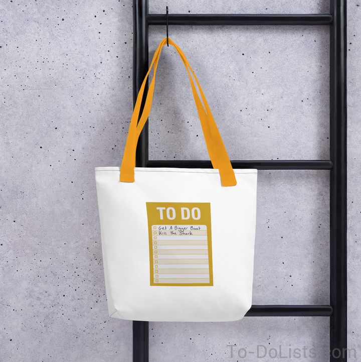 Jaws Tote Bag Yellow-Tote Bags-To-DoLists.com