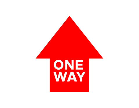 One Way Red Floor Graphic