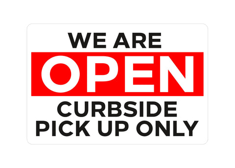 Open For Curbside Decal