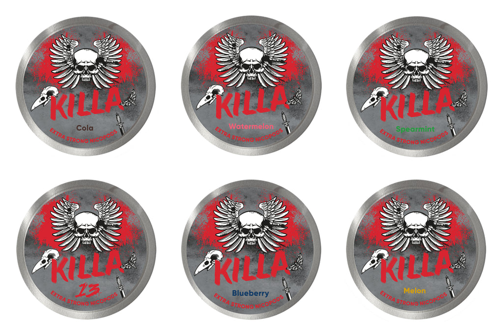 Killa bundel Cola watermelon spearmint 13 blueberry melon nicotine pouches - Arctic snus