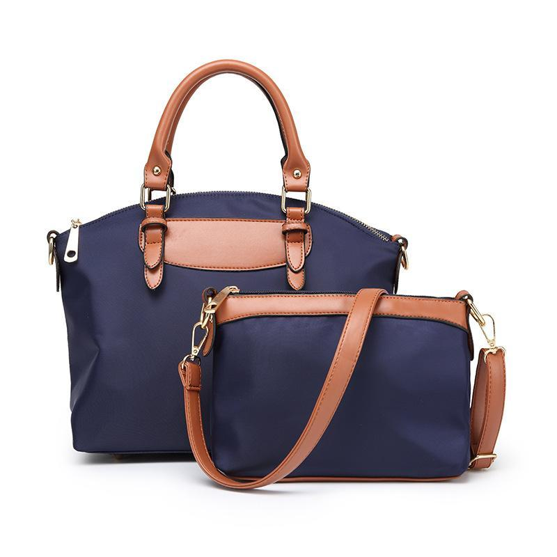 Women's Two Piece Diagonal Oxford Cloth Handbag