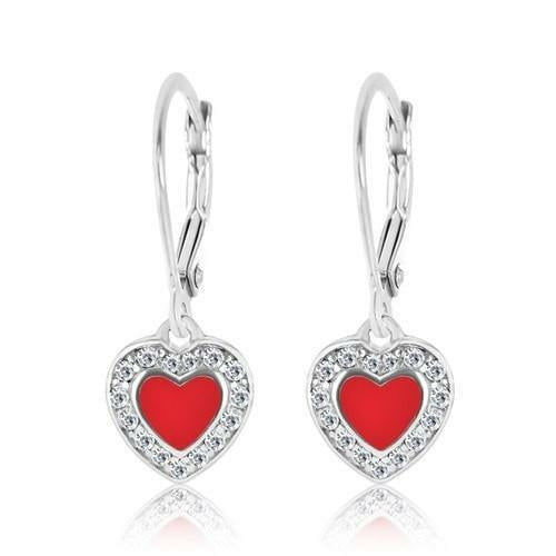Crystal Enamel Heart Leverback Earring