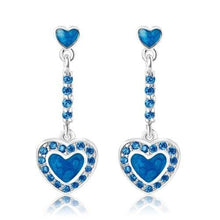 Load image into Gallery viewer, Enamel Heart With Surrounding Crystals Hanging Stud Earring