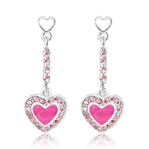 Enamel Heart With Surrounding Crystals Hanging Stud Earring