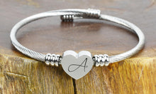 Load image into Gallery viewer, SOLID STAINLESS-STEEL HEART INITIAL CABLE BANGLE
