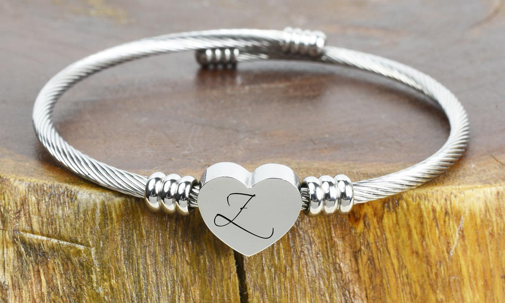 SOLID STAINLESS-STEEL HEART INITIAL CABLE BANGLE