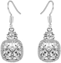 Load image into Gallery viewer, 2.00 CT White Topaz Ascher Cut Drop Earring