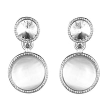 Load image into Gallery viewer, White gold earring, Opal earrings, Opal double disc earring