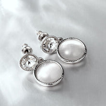 Load image into Gallery viewer, White gold plated earrings, white gold opal earrings, women's earrings