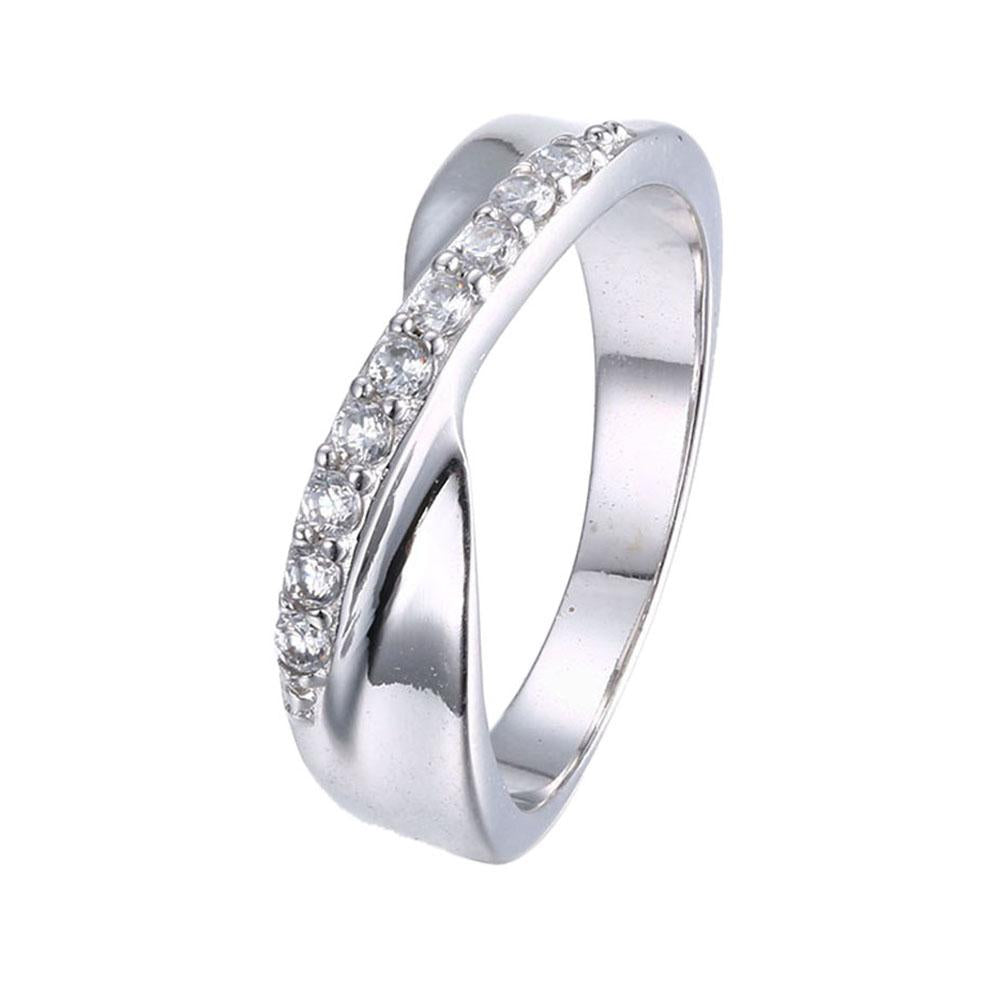 White Swarovski Micro-Pav'e Duo Intertwined Silver Plating Band Ring