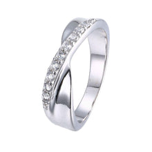 Load image into Gallery viewer, White Swarovski Micro-Pav'e Duo Intertwined Silver Plating Band Ring
