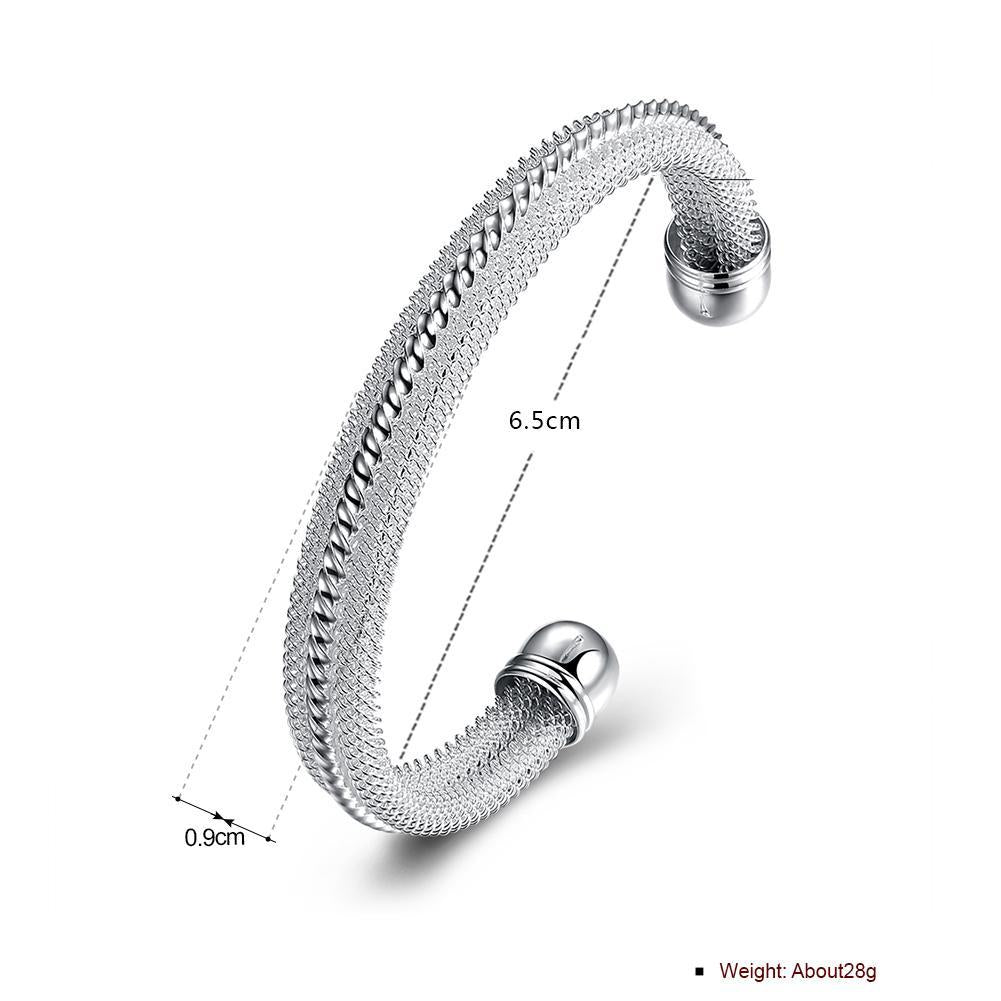 Classic Mesh Adjustable Cuff Bangle in 18K White Gold Plated