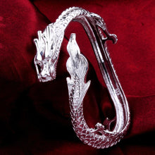 Load image into Gallery viewer, 18K White Gold Plated Dragon Bangle