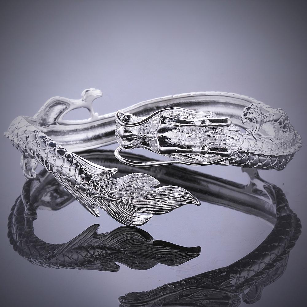 18K White Gold Plated Dragon Bangle