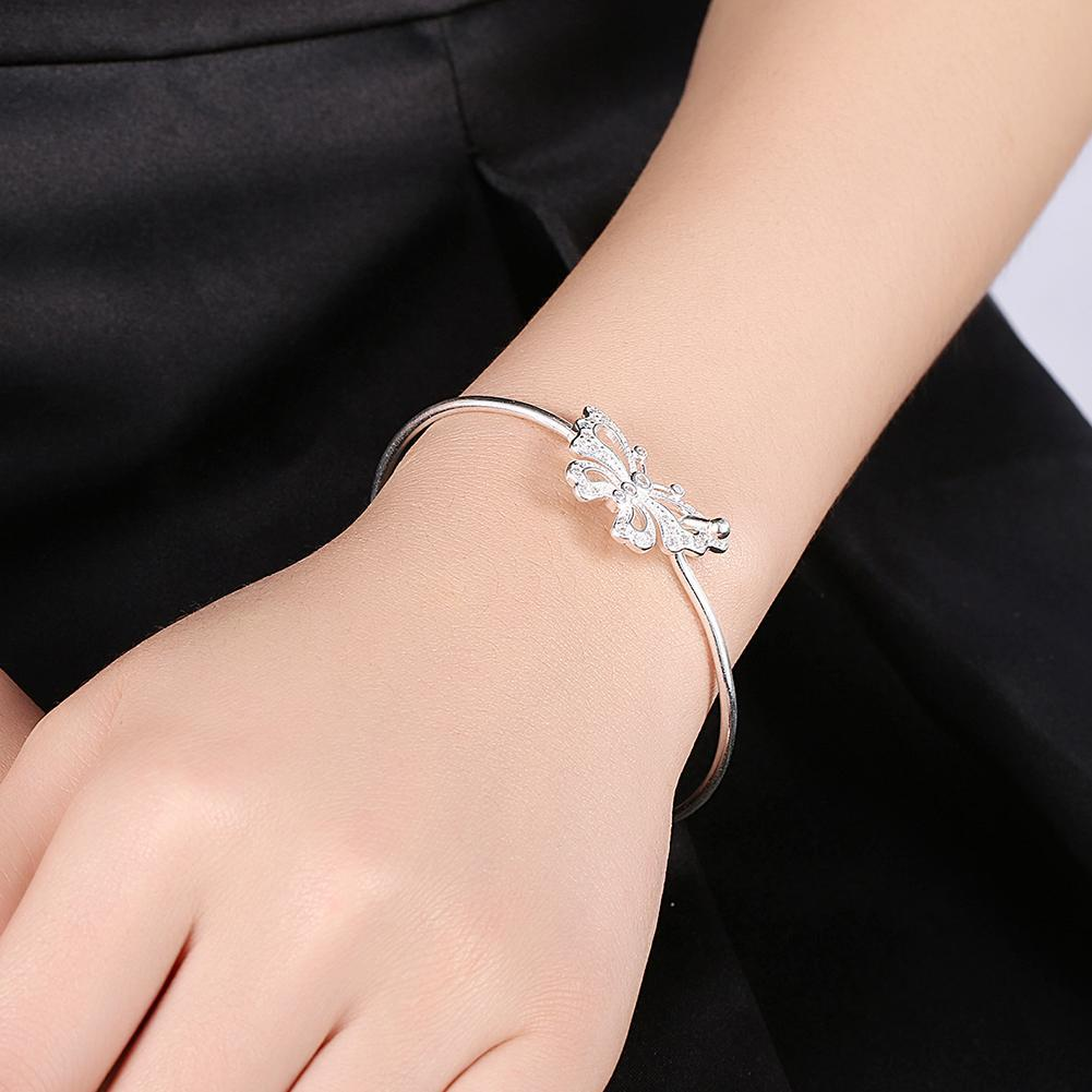Butterfly Cuff Bangle in 18K White Gold Plated