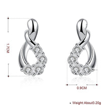 Load image into Gallery viewer, Pave Teardrop Stud Earring in 18K White Gold Plated