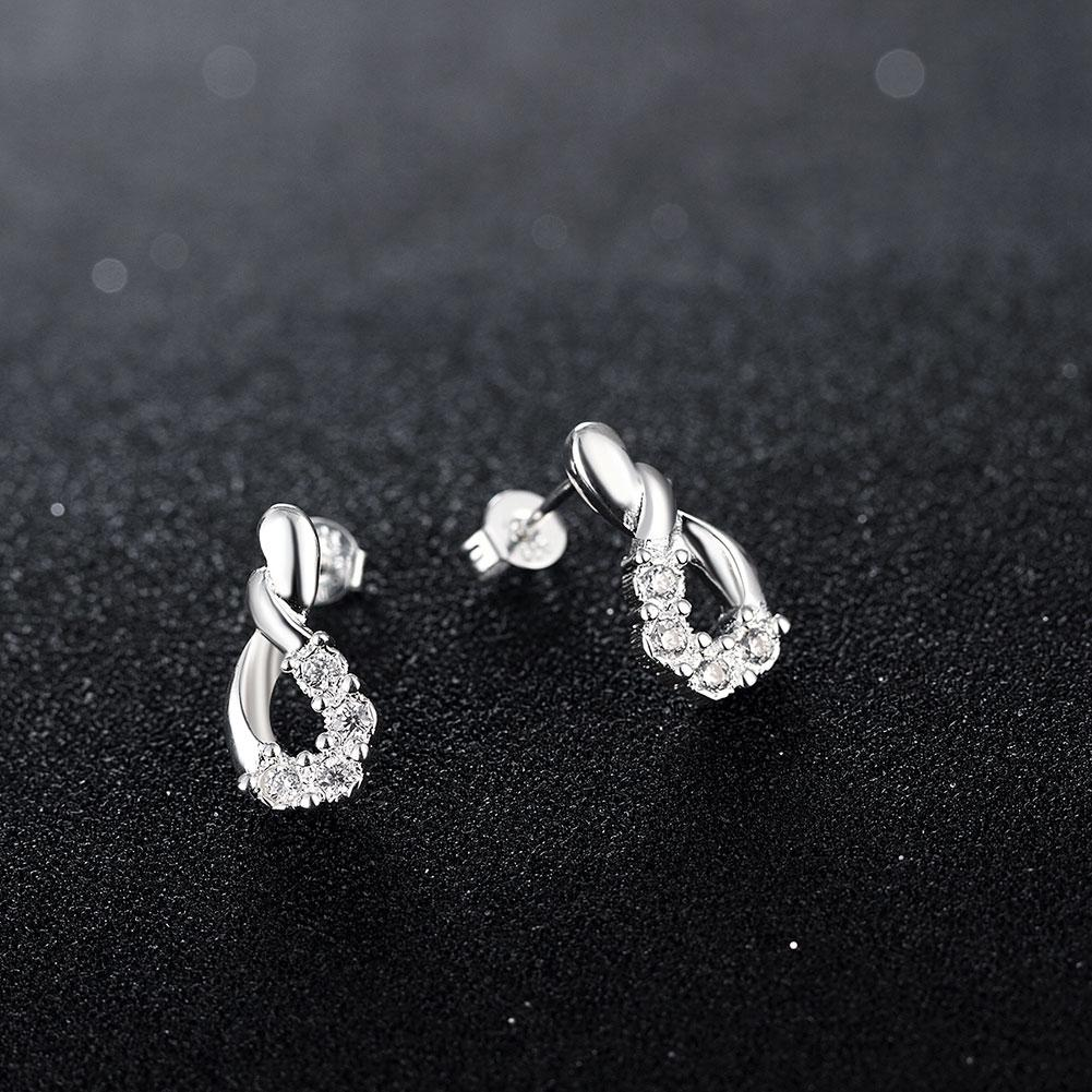 Pave Teardrop Stud Earring in 18K White Gold Plated