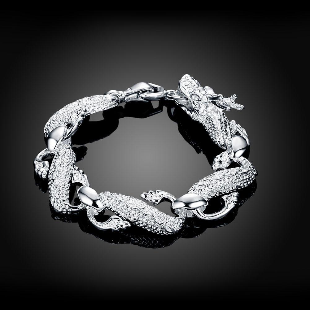 Chinese Dragon Bracelet in 18K White Gold Plated