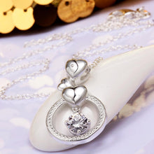 Load image into Gallery viewer, Dangling Hearts Swarovski Pendant Necklace