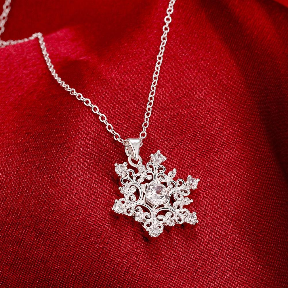 Snowflake Necklace in 18K White Gold Plated with Swarovski Crystals
