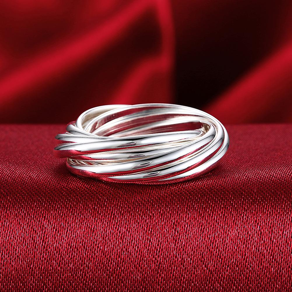 Multi-Lined Silver Plating Ring