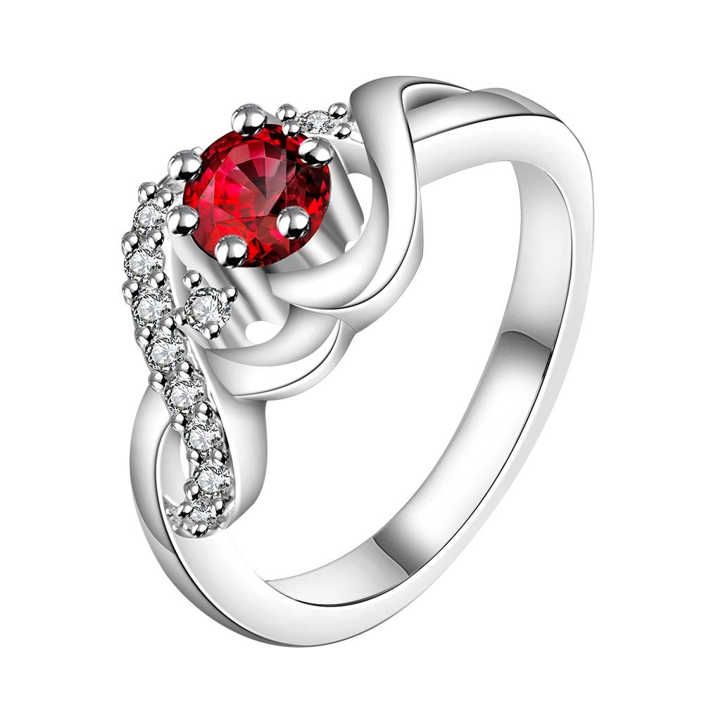 Silver Plating Red Swarovski Looped Design Ring