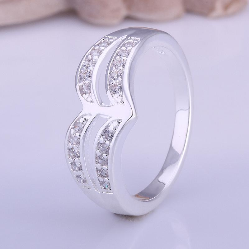 Silver Plating White Swarovski Elements Two-Lined Curved Ring