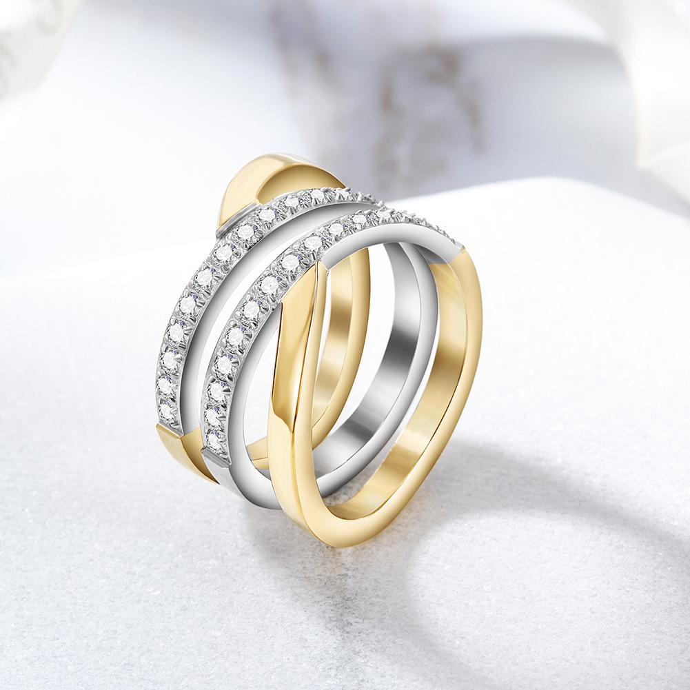 Gold Wide Band Cocktail Ring With CZ