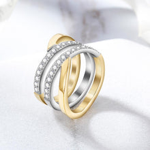 Load image into Gallery viewer, Gold Wide Band Cocktail Ring With CZ