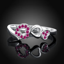 Load image into Gallery viewer, Purple Swarovski Elements Multi-Hearts Sleek Ring