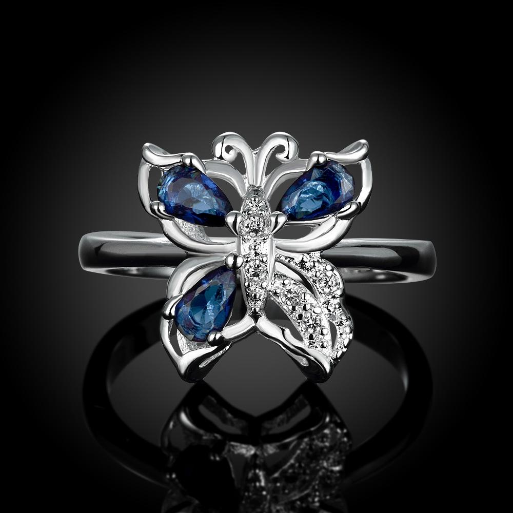 Silver Plating Blue Swarovski Elements Butterfly Statement Ring