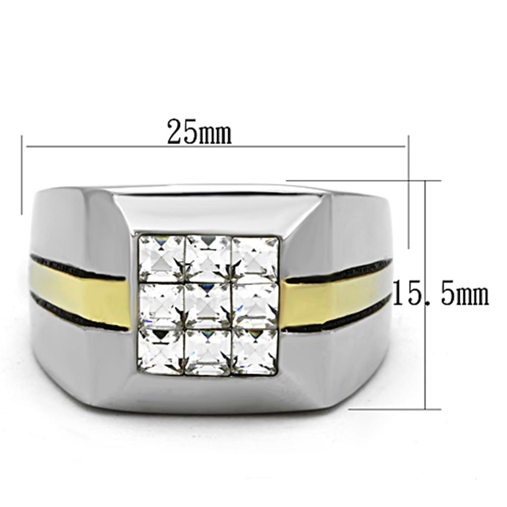 Men Stainless Steel Synthetic Crystal Rings TK1178