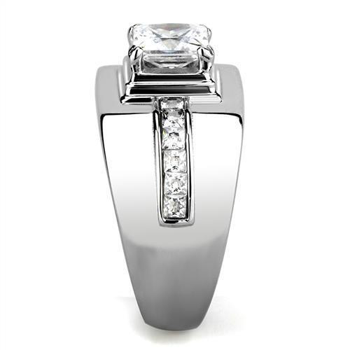 Men Stainless Steel Cubic Zirconia Ring