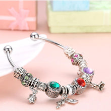 Load image into Gallery viewer, Rainbow Swarovski Pav'e Charm Multi-Charms Pandora Inspired Bangle